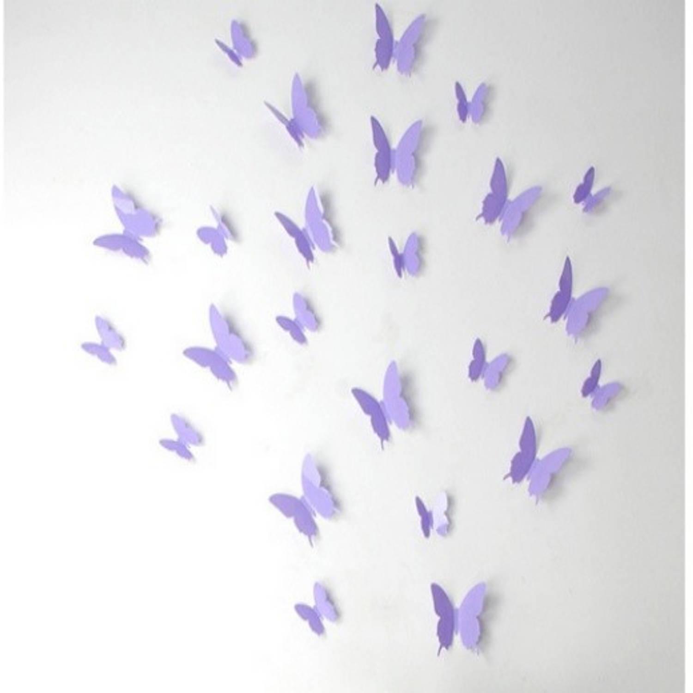 3d Vlinder Muurstickers - Lavendel - 12 Stuks