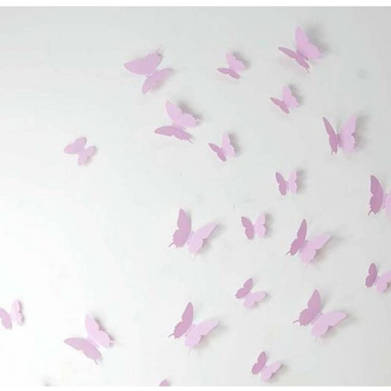 3D vlinder muurstickers Roze 12 stuks