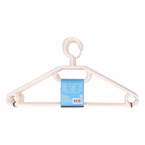 10x Voordelige plastic kledinghangers wit - Kleerhangers - Kunststof garderobe/kledingrek hangers 10 stuks