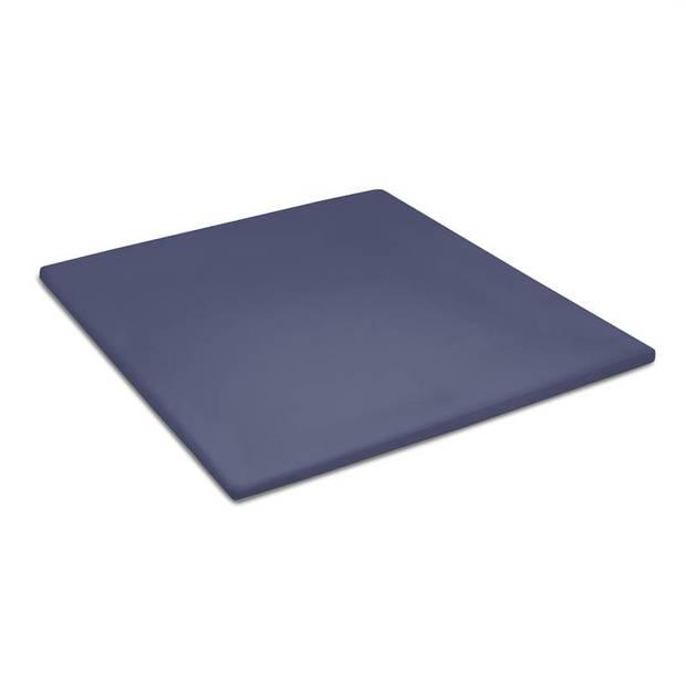 Cinderella basic percaline katoen topper hoeslaken - 100% percaline katoen - Lits-jumeaux (180x220 cm) - Dark Blue