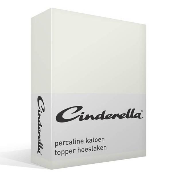Cinderella basic percaline katoen topper hoeslaken - 100% percaline katoen - Lits-jumeaux (180x210 cm) - Ivory