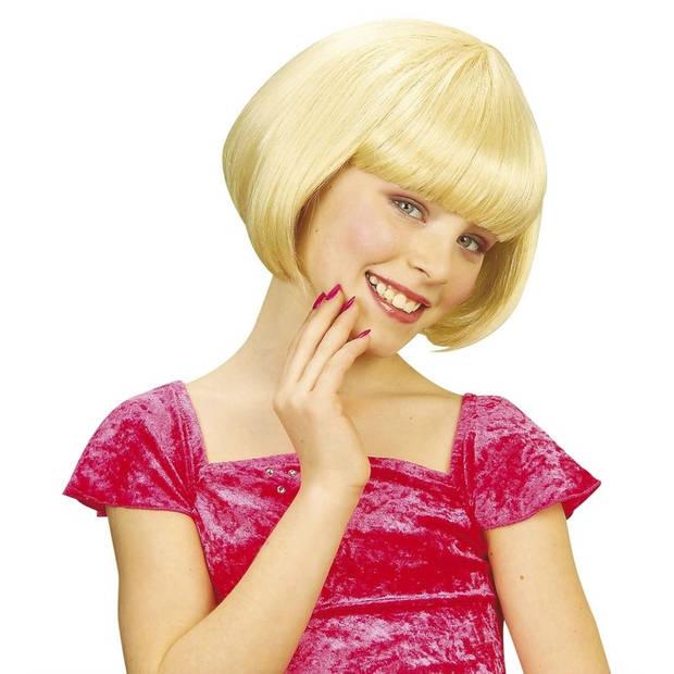 Meisjes kinderpruik met blond kort haar