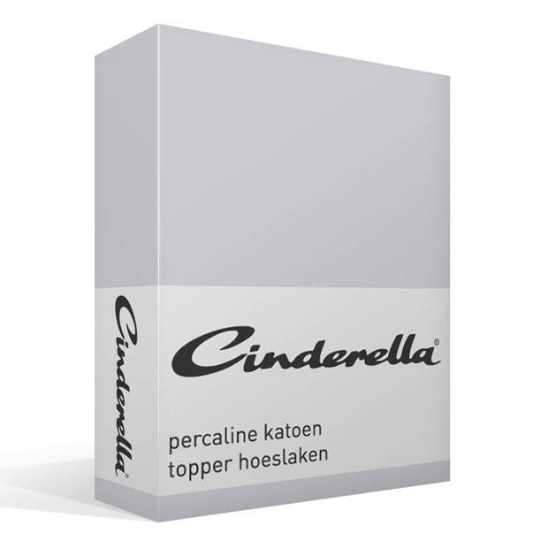 Cinderella basic percaline katoen topper hoeslaken - 100% percaline katoen - Lits-jumeaux (160x210 cm) - Light grey