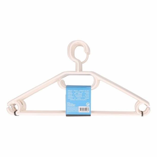 50x Plastic kledinghangers wit - Kleerhangers - Kunststof garderobe hangers voor kledingrek/kledingkast 50 stuks