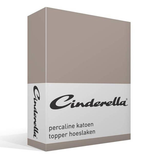 Cinderella basic percaline katoen topper hoeslaken - 100% percaline katoen - Lits-jumeaux (180x200 cm) - Taupe