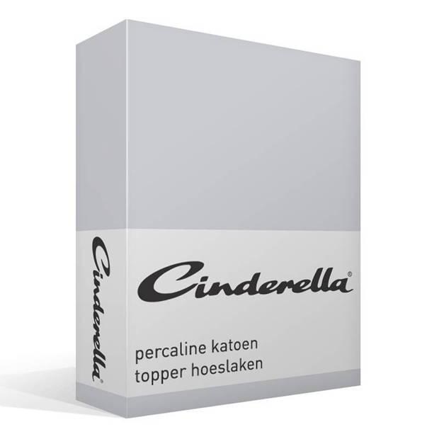Cinderella basic percaline katoen topper hoeslaken - 100% percaline katoen - Lits-jumeaux (180x210 cm) - Light grey