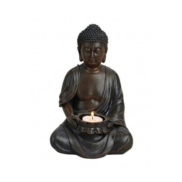 Boeddha beeld bruin met theelichthouder 23 cm - Beeldjes