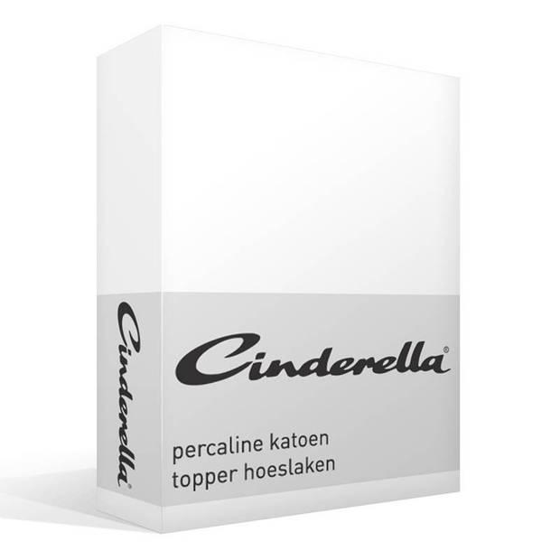 Cinderella basic percaline katoen topper hoeslaken - 100% percaline katoen - Lits-jumeaux (180x210 cm) - White
