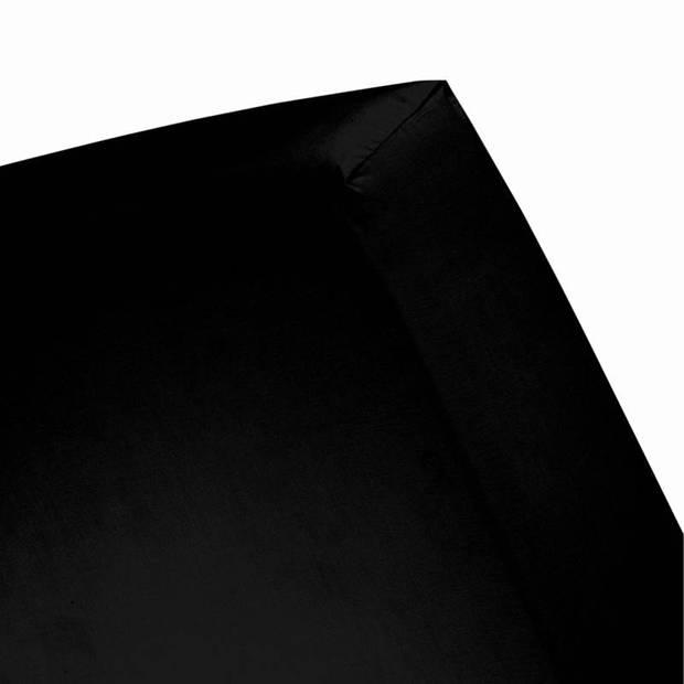 Cinderella basic percaline katoen hoeslaken - 100% percaline katoen - Lits-jumeaux (160x200 cm) - Black