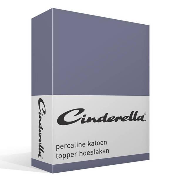 Cinderella basic percaline katoen topper hoeslaken - 100% percaline katoen - Lits-jumeaux (180x210 cm) - Dark Blue