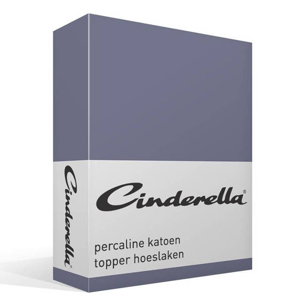 Cinderella basic percaline katoen topper hoeslaken - 100% percaline katoen - 1-persoons (90x200 cm) - Dark Blue