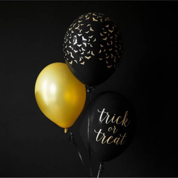 Halloween - 6x stuks zwart/gouden Halloween/horror ballonnen 30 cm met vleermuizen print