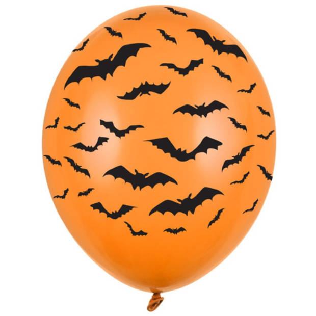 Halloween - 6x Oranje/zwarte Halloween ballonnen 30 cm met vleermuizen print