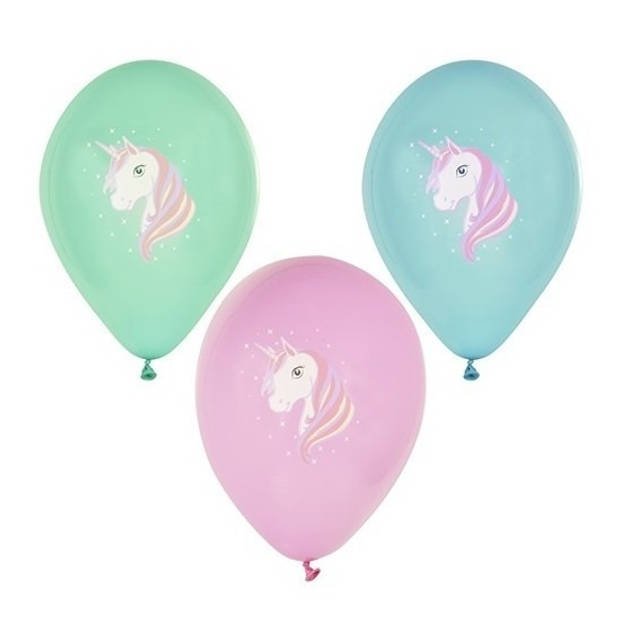 6x Eenhoorn thema print ballonnen 29 cm - Eenhoorn kinder verjaardag thema feestje versiering