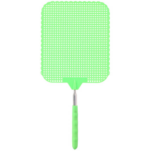 2x Groene uitschuifbare vliegenmepper 76 cm