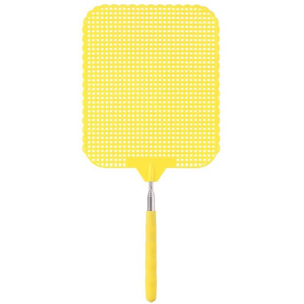 2x Gele uitschuifbare vliegenmepper 76 cm