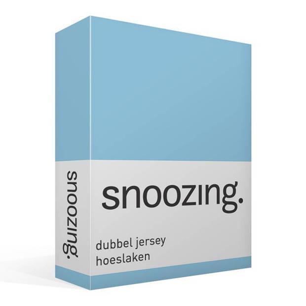 Snoozing - Dubbel Jersey - Hoeslaken - Lits-jumeaux - 180x200/210/220 cm - Bleu