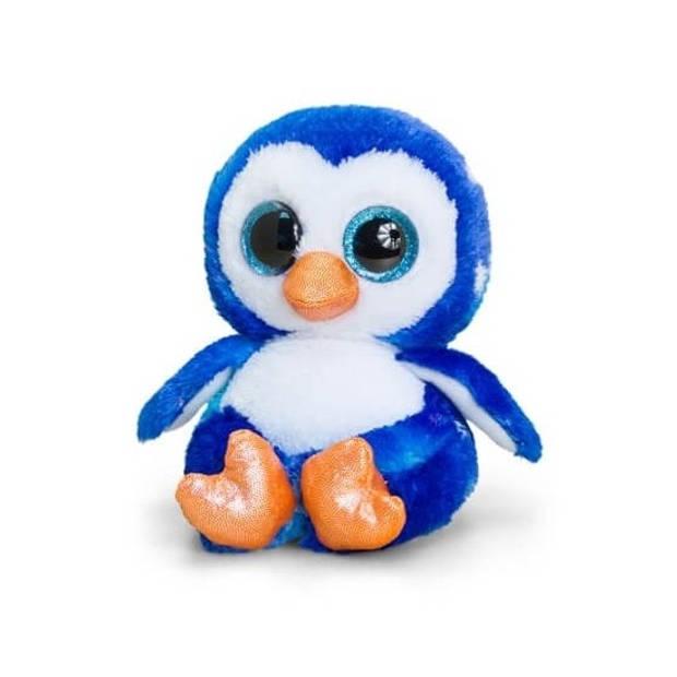 Keel Toys pluche pinguin knuffel blauw/wit 15 cm - Pooldieren knuffelbeesten