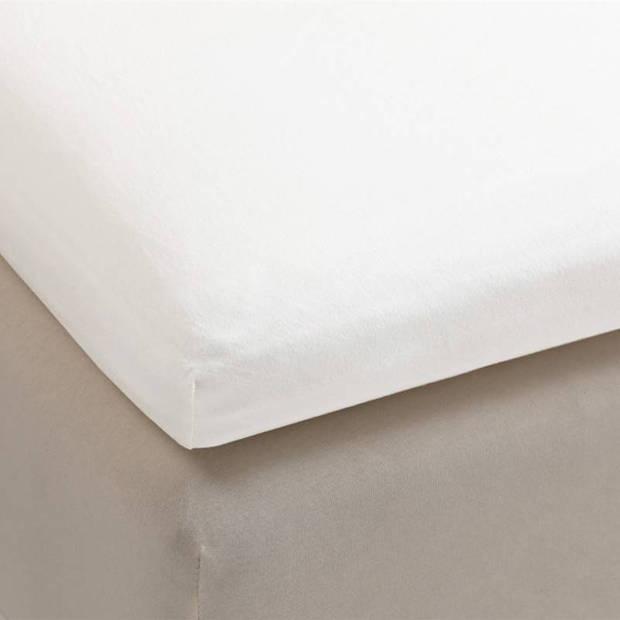 Beddinghouse jersey lycra topper hoeslaken - 95% gebreide katoen - 5% lycra - Lits-jumeaux (180/200x200/220 cm) - White