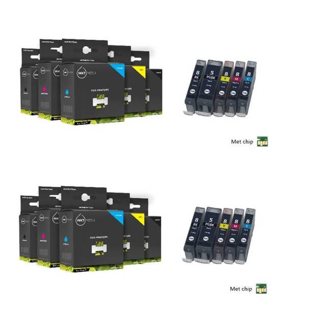 Inktmedia huismerk SET geschikt voor Canon pgi-5 en cli-8 serie 10X cartridges MET CHIP