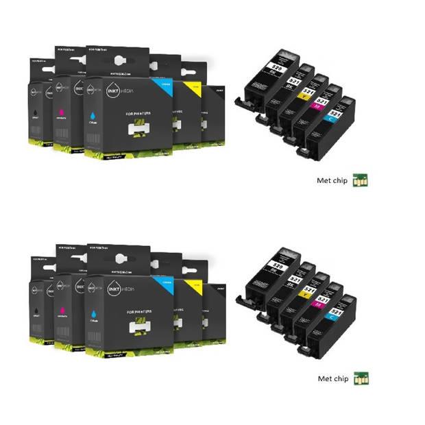 Inktmedia huismerk SET geschikt voor Canon pgi-520 en cli-521 serie1 0X cartridges MET CHIP