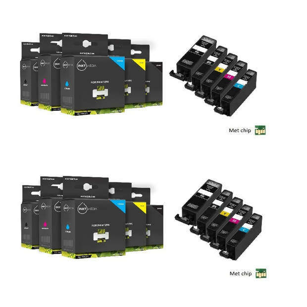 Inktmedia huismerk SET geschikt voor Canon pgi-525 en cli-526 serie 10X cartridges MET CHIP