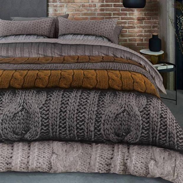 Beddinghouse Benwick flanel dekbedovertrek - Lits-jumeaux (240x200/220 cm + 2 slopen) - Flanel - Ocre