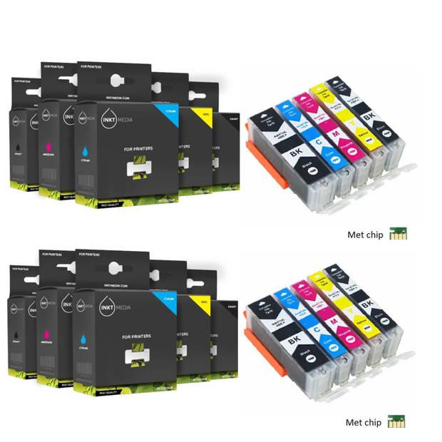 Inktmedia huismerk SET geschikt voor Canon pgi-570 en cli-571 XL serie 10X MET CHIP