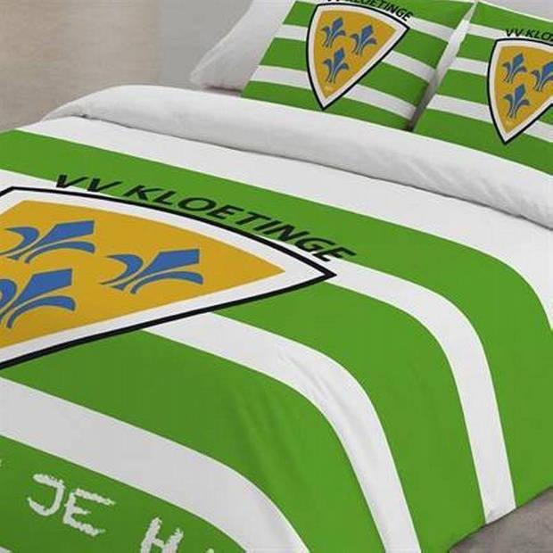 VV Kloetinge dekbedovertrek - 100% katoen - 2-persoons (200x200/220 cm + 2 slopen) - 2 stuks (60x70 cm) - Groen