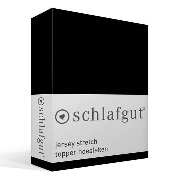 Schlafgut Jersey stretch topper hoeslaken - 95% gebreide katoen - 5% elastan - Lits-jumeaux (180/200x200/220 cm) - Zwart