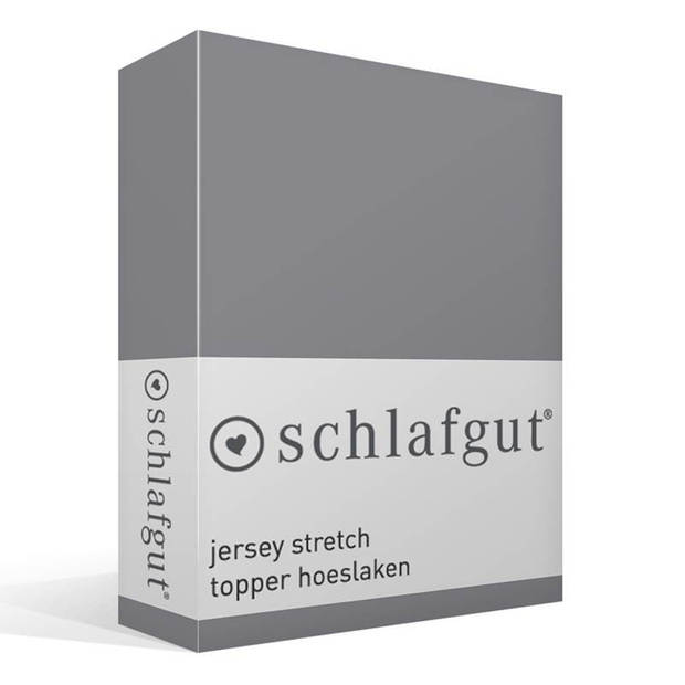 Schlafgut Jersey stretch topper hoeslaken - 95% gebreide katoen - 5% elastan - Lits-jumeaux (180/200x200/220 cm) - Grijs