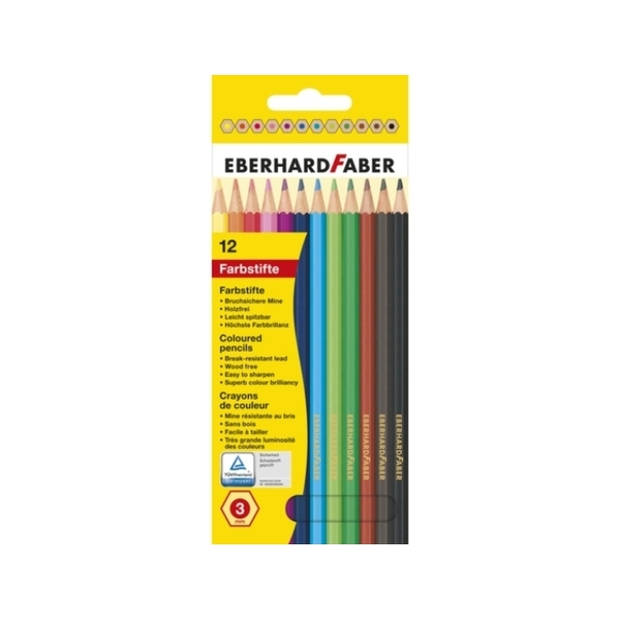 kleurpotlood Eberhard Faber 17,5cm kartonnen etui à 12 stuks assorti kleuren
