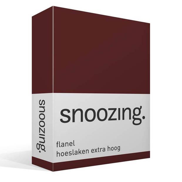 Snoozing - Flanel - Hoeslaken - Extra Hoog - 180x200 - Aubergine