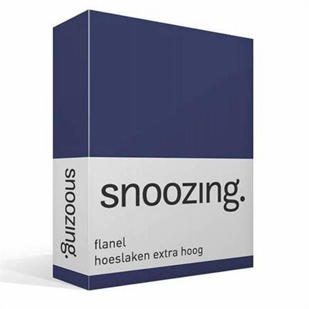 Snoozing - Flanel - Hoeslaken - Extra Hoog - 180x210/220 - Navy