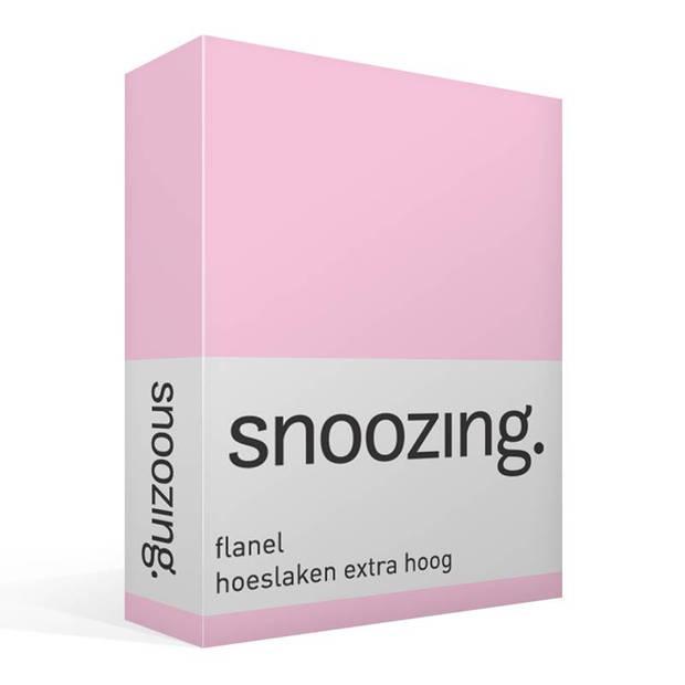 Snoozing - Flanel - Hoeslaken - Extra Hoog - 200x200 - Roze