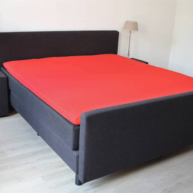Snoozing - Topper - Hoeslaken - 200x200 cm - Percale katoen - Rood