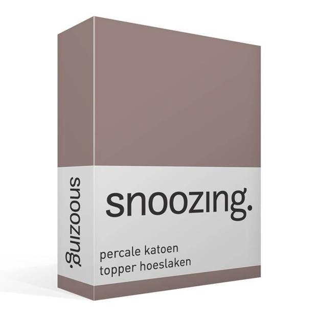 Snoozing - Topper - Hoeslaken - 90x210 cm - Percale katoen - Navy