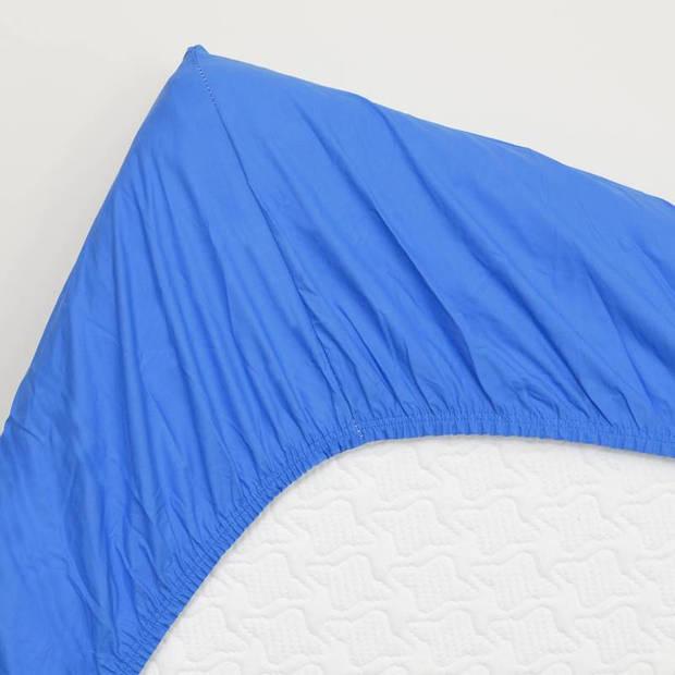 Snoozing - Topper - Hoeslaken - 200x220 cm - Percale katoen - Meermin