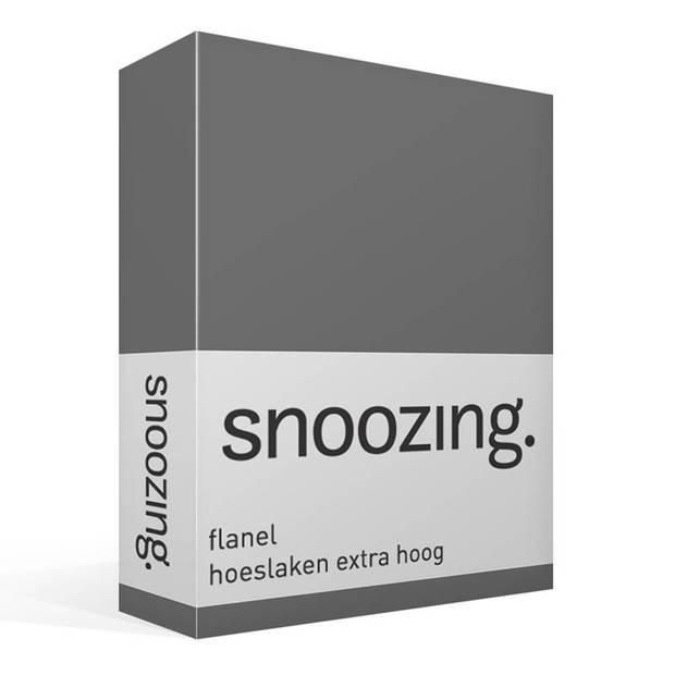 Snoozing - Flanel - Hoeslaken - Extra Hoog - 180x200 - Antraciet