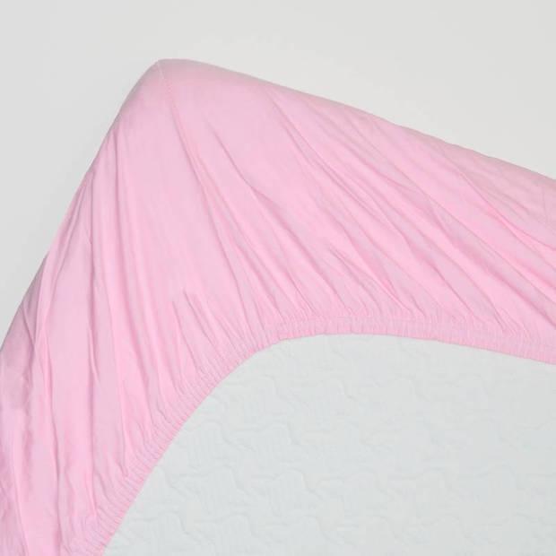 Snoozing - Topper - Hoeslaken - 160x210 cm - Percale katoen - Roze