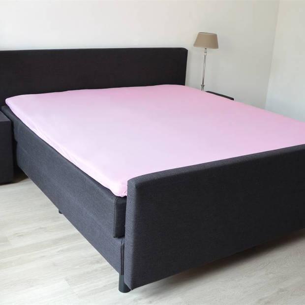 Snoozing - Topper - Hoeslaken - 200x200 cm - Percale katoen - Roze