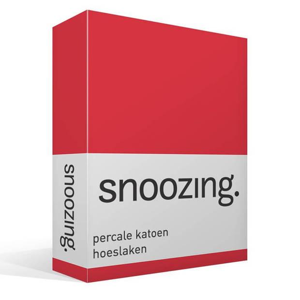 Snoozing - Hoeslaken -200x220 - Percale katoen - Rood