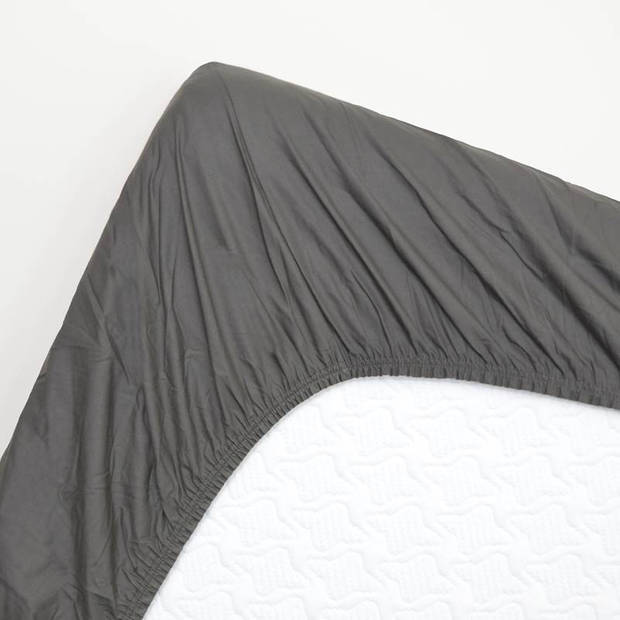 Snoozing - Hoeslaken -160x210 - Percale katoen - Antraciet