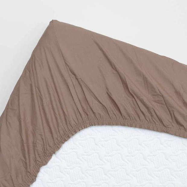 Snoozing - Hoeslaken -200x200 - Percale katoen - Taupe