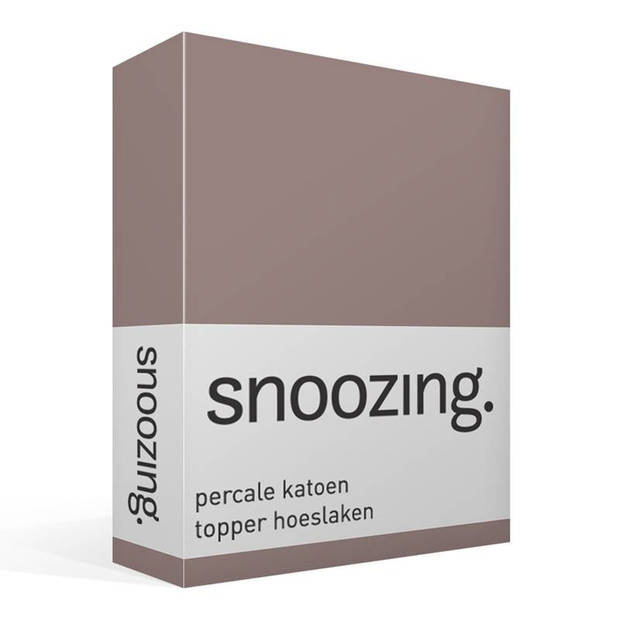 Snoozing - Topper - Hoeslaken - 160x220 cm - Percale katoen - Taupe