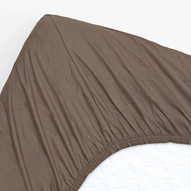 Snoozing - Topper - Hoeslaken - 160x220 cm - Percale katoen - Bruin