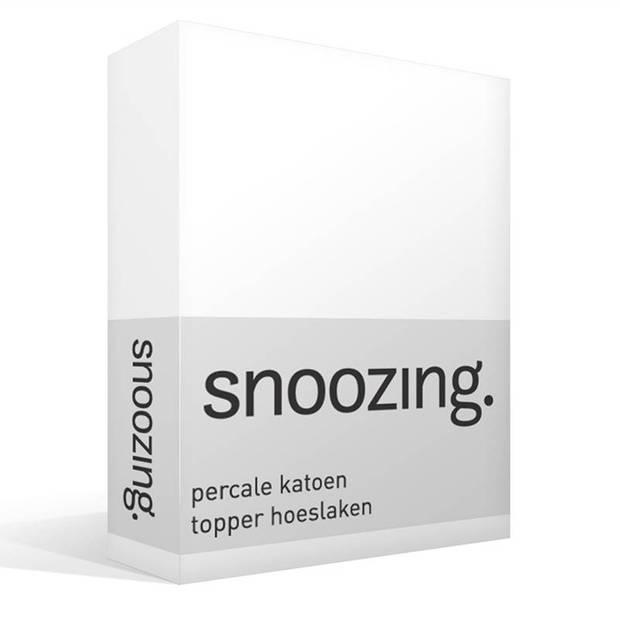 Snoozing - Topper - Hoeslaken - 200x220 cm - Percale katoen - Wit