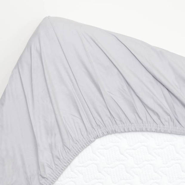 Snoozing - Topper - Hoeslaken - 200x220 cm - Percale katoen - Grijs