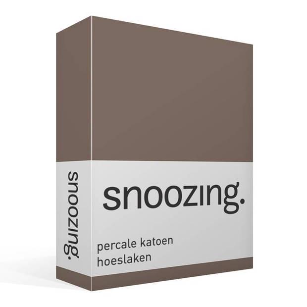 Snoozing - Hoeslaken -200x200 - Percale katoen - Bruin