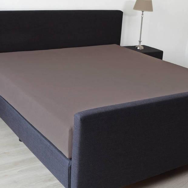 Snoozing - Katoen-satijn - Hoeslaken - Extra Hoog - 160x220 - Bruin